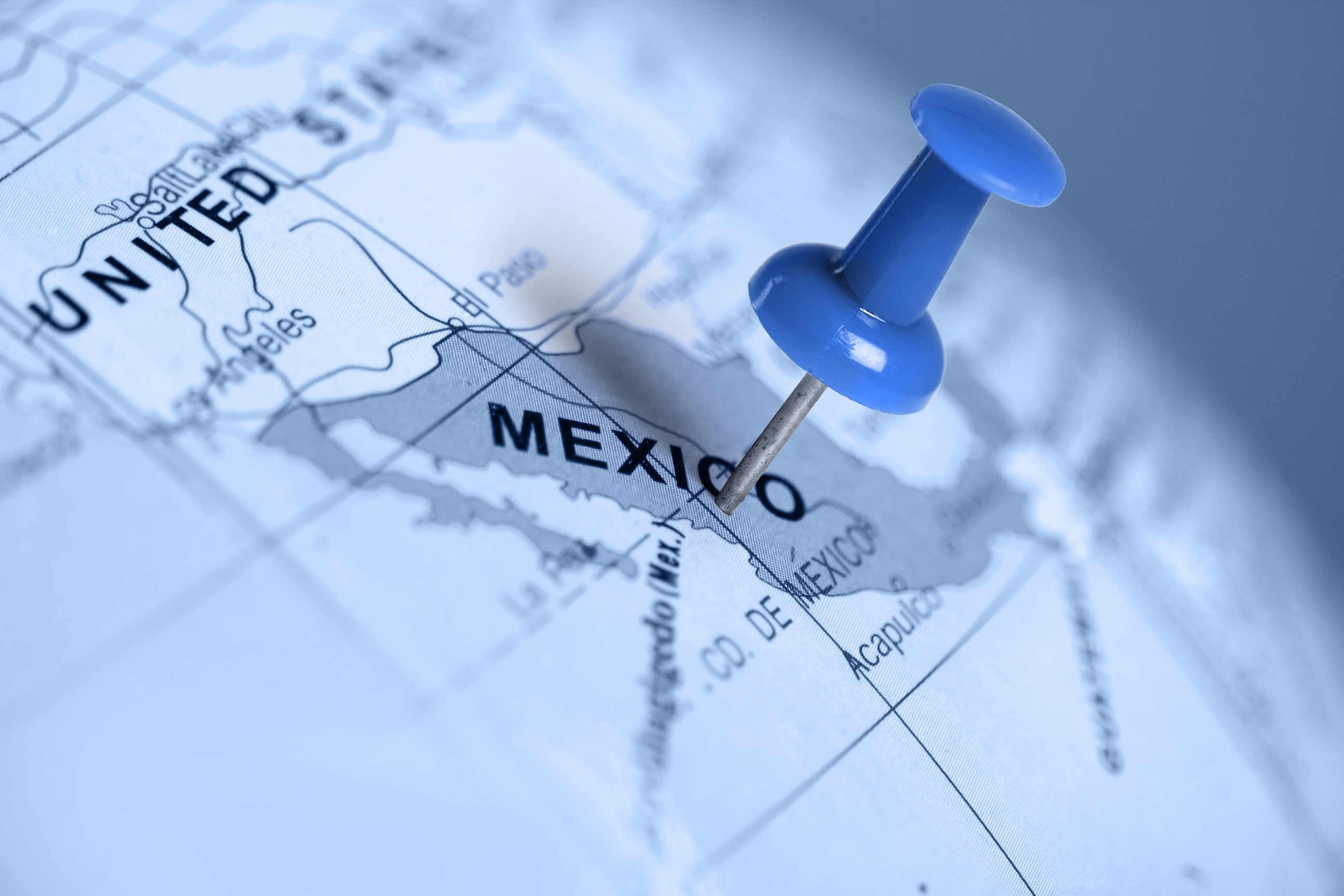 map with a pin on Mexico